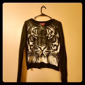 Say What Cropped Tiger Sweater-Size Small